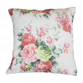 Almofada Floral Rosa Fundo Cru